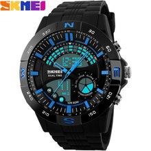 2017 New SKMEI  Brand Men Military Sports fashion Swimming Watches dual time Digital LED quartz Wristwatches black rubber band