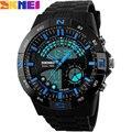 2017 nueva skmei marca hombres militar deportes moda natación relojes de hora dual led digital relojes de pulsera de cuarzo negro banda de goma