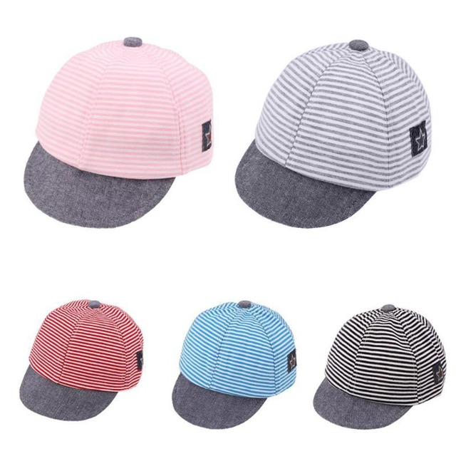 b630518d3ddadc Puseky Baseball Cap Kids Sports Cap Mesh Hat Cotton Beret Stripe Summer Cap  Children Accessories Baby Boys Girls Hats