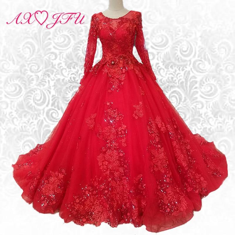 AXJFU baru Mewah putri bunga merah renda manik-manik gaun pengantin naik gaun pengantin lengan panjang manik-manik 100% foto asli 91544