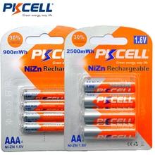 PKCELL 4 szt./karta AA bateria 1.6V 2500mWh AA akumulatory + 4 szt./karta 900mwh AAA baterie NI ZN akumulator AAA