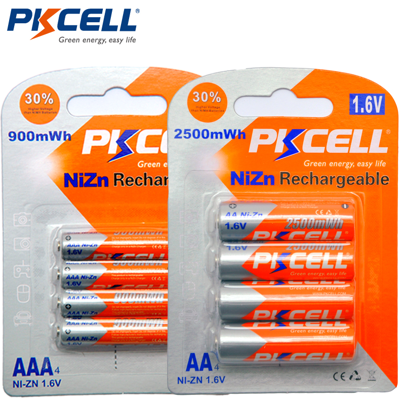PKCELL 4Pc card AA Battery 1 6V 2500mWh AA Rechargeable Batteries 4Pcs card 900mwh AAA Batteries