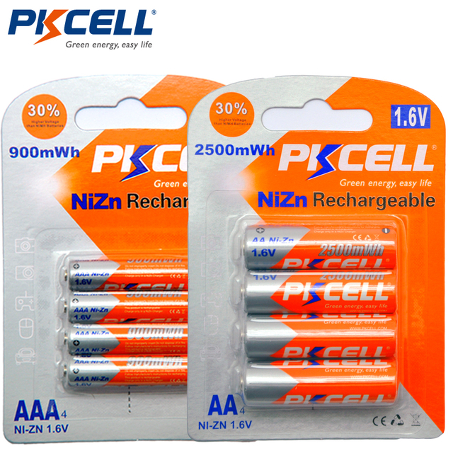 PKCELL 4Pc/carte pile AA 1.6V 2500mWh piles rechargeables AA + 4 pièces/carte 900mwh piles AAA NI ZN pile Rechargeable AAA