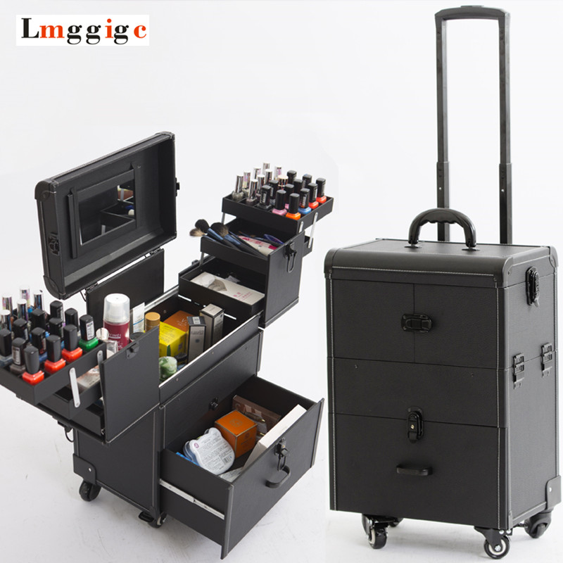 Cosmetic Bags with Wheel,Nails Makeup Toolbox,Multi-layer Trolley Case with Rolling,PVC Beauty Box Travel Luggage Suitcase bag kundui aluminum frame profelssional makeup beauty lighting rolling luggage travel trolley light make up case bag suitcase box