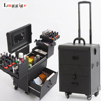 Cosmetic Bags with Wheel,Nails Makeup Toolbox,Multi layer Trolley Case with Rolling,PVC Beauty Box Travel Luggage Suitcase bag