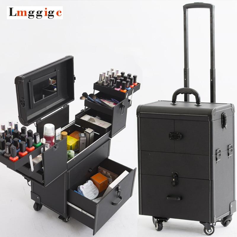 Sacs À cosmétiques avec la Roue, Ongles Maquillage Boîte À Outils, Multi-couche Chariot Cas avec Roulant, PVC Boîte de Beauté voyage Bagages Valise sac