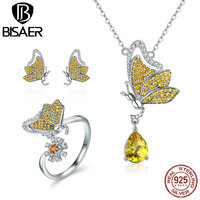 BISAER Authentic 925 Sterling Silver Yellow CZ Dancing Flying Butterfly Dream Luxury Jewelry Set for Women Silver Fine Jewelry