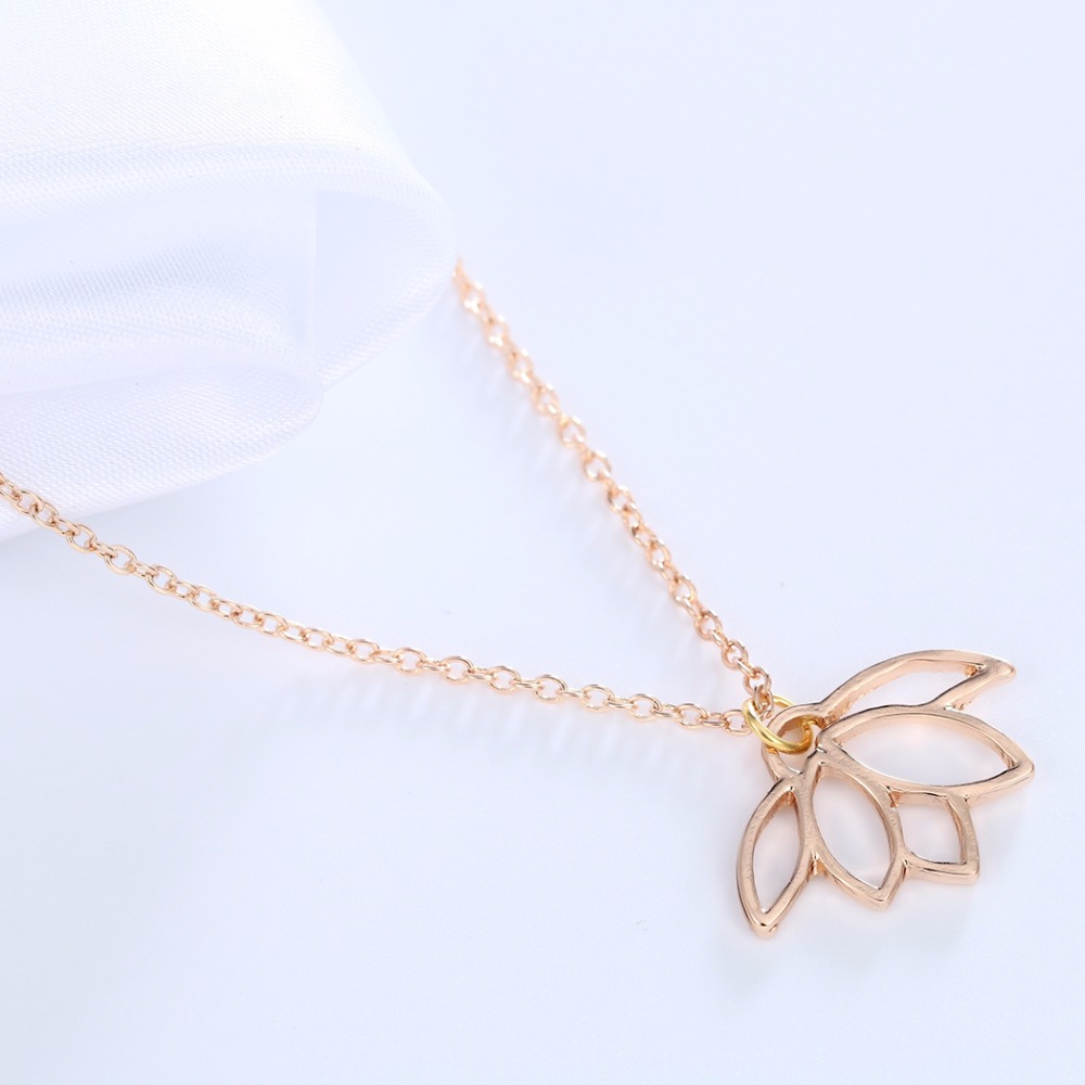 1pcs Cute Gold Lotus Necklace Pendant Lotus Flower Chain Necklace