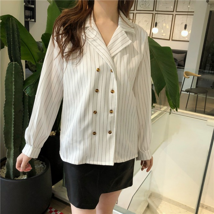 Shirts Women Simple Retro Striped All-match Double-breasted Korean Style Students Notched Womens Elegant Blouses Loose Chic 2019 28