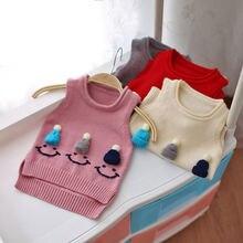 где купить Baby Knit Sweater Cute Sleeveless O-neck Princess Top Sweater for Kids 9M 12M 18M 24M Appliques Knitted по лучшей цене