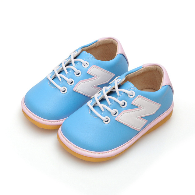 Light Blue Baby Boy Girl Squeaky Shoes Nonslip Toddler Sneaker Shoes Leather Casual Shoes