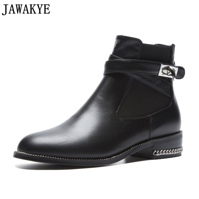 2018 Shark Lock ankle Boots for women genuine leather low heel short botas mujer metal chain decor Fall winter shoes for ladies 2018 Shark Lock ankle Boots for women genuine leather low heel short botas mujer metal chain decor Fall winter shoes for ladies