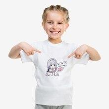 2019 NEW Modal T Kids RE: ZERO Cat Cartoon Cute Print Comfort Round Neck Short Sleeve Top White T-Shirt  A193121 cartoon tattoo man print round neck long sleeve t shirt