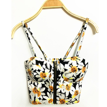 Women Summer Tops 2017 Sexy Crop Top Halter Top Retro Nightclub Floral Daisy Wrapped Chest Harness Vest Print Backless Corset