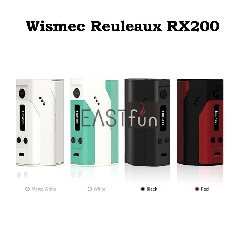 Prix pour D'origine Wismec Reuleaux RX200 boîte mod conçu par JayBo OLED écran RX 200 W Température Contrôle mod En Noir Blanc Bleu rouge