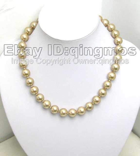 SALE AAA Big 12MM high luster Perfect Round Champagne Sea Shell Pearl NECKLACE -nec5162