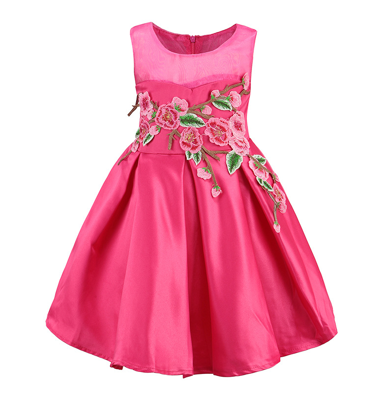 Princess Embroidery Dress Costumes for girls Kids Clothes 2017 Brand Sleeveless  Party and Wedding Girls Dresses Children Dress white princess dress costumes for kids clothes 2017 brand summer girls dresses for party wedding lace high collar children dress