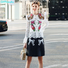 QYFCIOUFU High Quality Full Sleeve Casual Women Sets Embroidery Lace Tops And Blouses + Runway Printed Black Micro Mini Skirt
