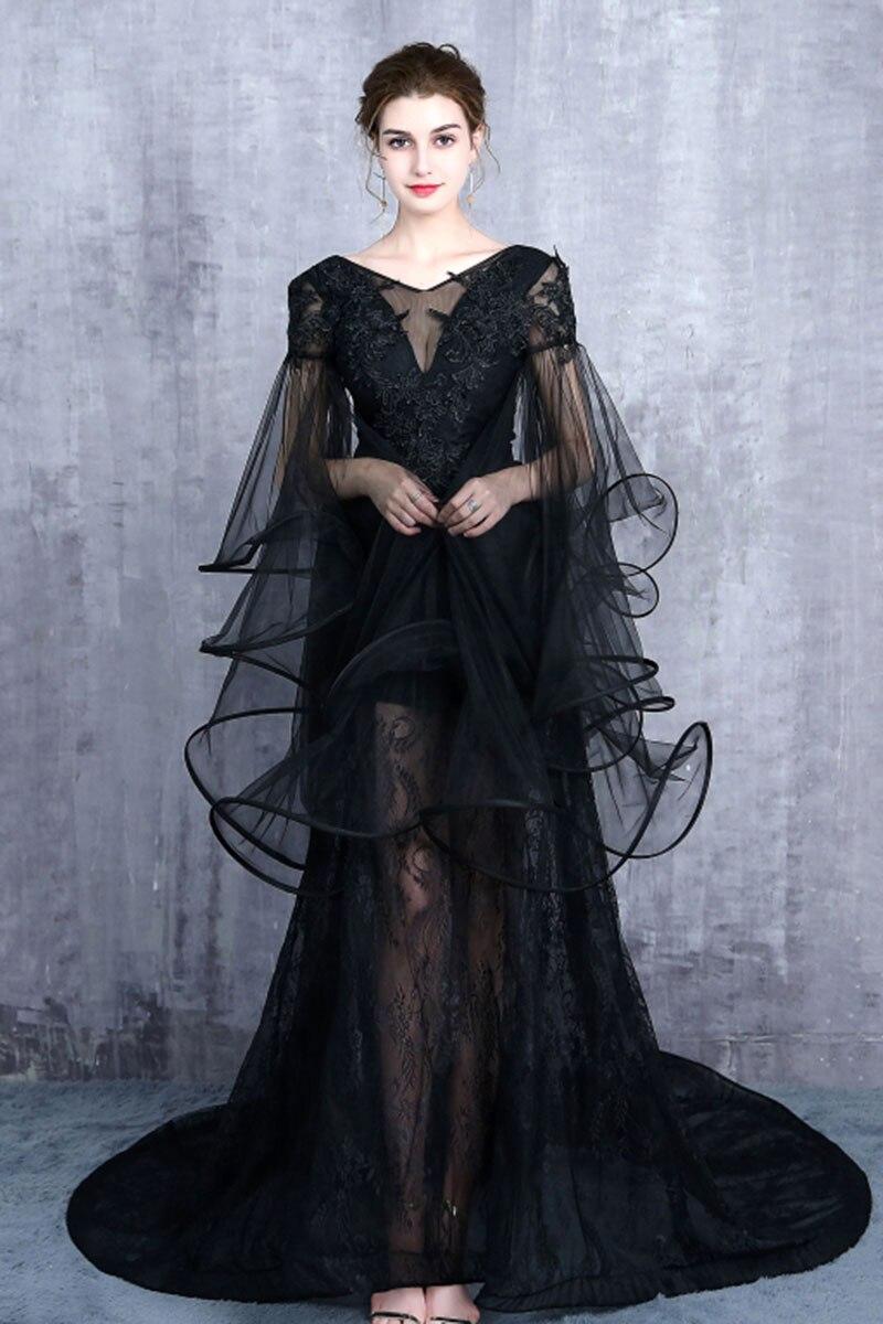 Gratis schip zwart/lichtblauw sea queen/dark queen lange vintage jurk/zee thema/studio stage lange jurk/halloween - 3