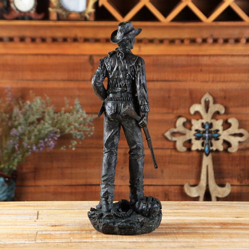 VILEAD 20 39 39 Resin American West Cowboy Figurine Black Modern Cowboy with Gun Statue Vintage Home Decor Creative Sculpture Gift in Figurines amp Miniatures from Home amp Garden