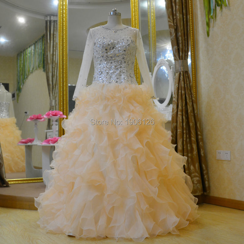 Champagne Ball Gown Wedding Dresses: Luxury Long Sleeve Champagne Organza Wedding Dress Ball