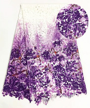 African Lace Fabric 2017 Hot High Quality White Purple 5 Yard Guipure Multicolor For Cord FRG83