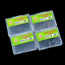 100pcs 1-12 Fishing Hook Durable Pesca Jig Head Bait Barb Fishhooks Lure With Hole Carp Fishing Tackle Box HW261