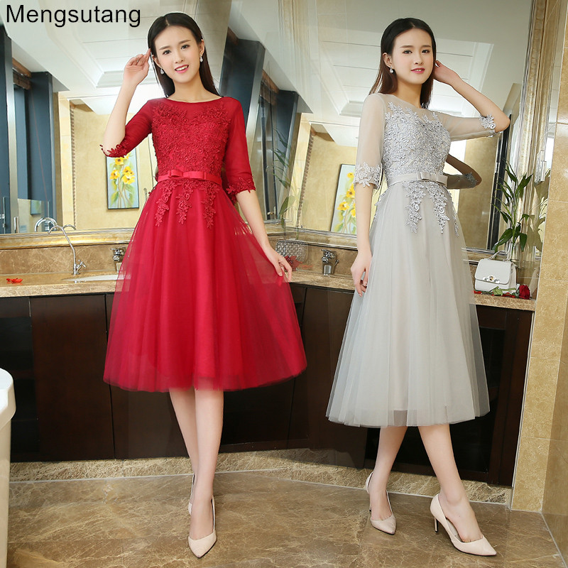 Robe de soiree 2019 new hot sale tea-length u collar lace up banquet Vestidos de festa   evening     dress   red   dress   prom   dresses