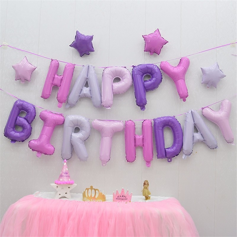 1 Set Pink Purple Princess Unicorn Balloons Happy Birthday Party Cake Balloon Decorator Inflatable Boy
