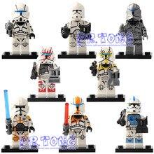 DR. TONG 8 pçs/lote STAR WARS Clone Trooper Commander Set Modelos Mini Figura Brinquedos Building Block Bricks Brinquedos Crianças Presentes Sy1071
