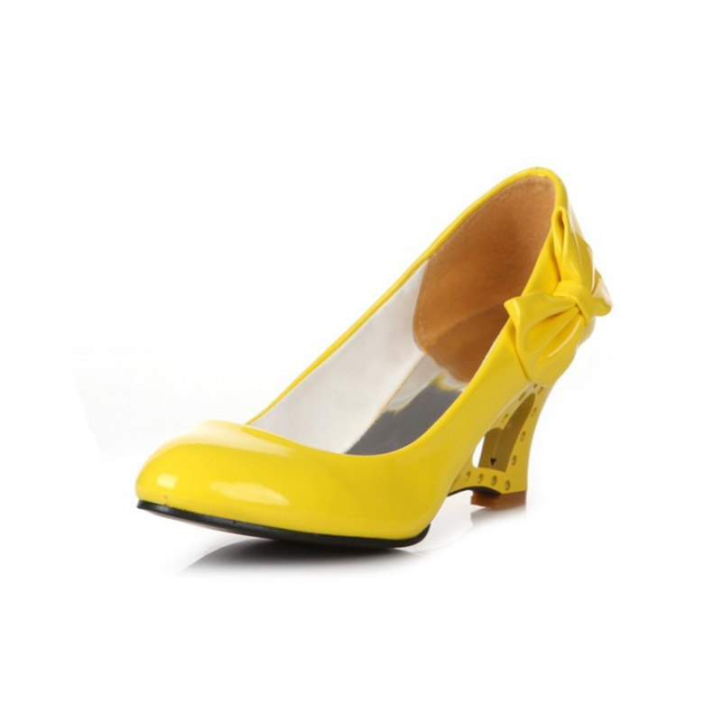 Women Wedges High Heels Causal Shallow Slip on Women Pumps Round Toe PU Bow-tie Sexy Party Shoes Plus Size 35-43