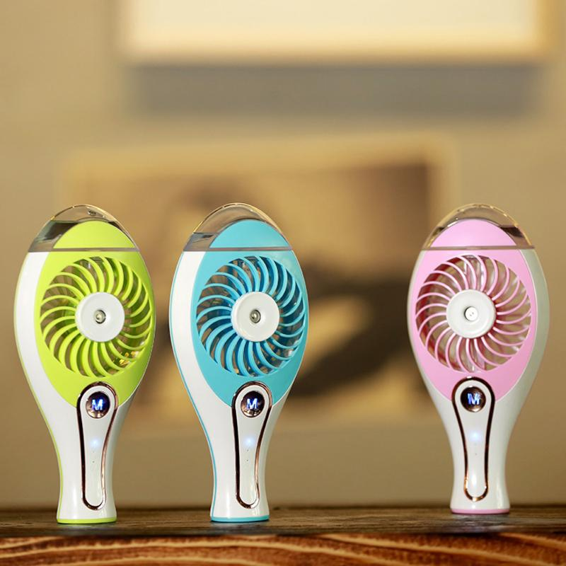 2 in 1 Mini Handheld USB Rechargeable Fan Spray Humidifier Air Conditioning Cooling Fan for Indoor and Outdoor Home Comfort summer spray mini usb fan humidifier charger small fan spray cooling air conditioning support power bank colorful wholesale