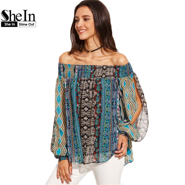 Shein womens blusas para senhoras do outono do verão 2016 multicolor imprimir off the shoulder longo divisão manga comprida blusa vintage
