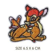 Олень с бабочкой олененок животных прекрасный Утюг на вышитые Ткань Одежда патч для девочек мальчиков