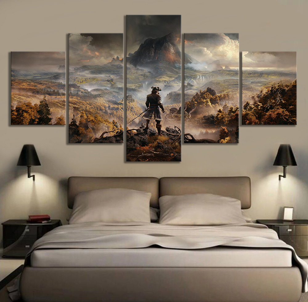 5 Panels GreedFall Video Games Art Fantasy Wall Art Game Scene Landscape Wall Paintings for Living Room Wall Decor 1