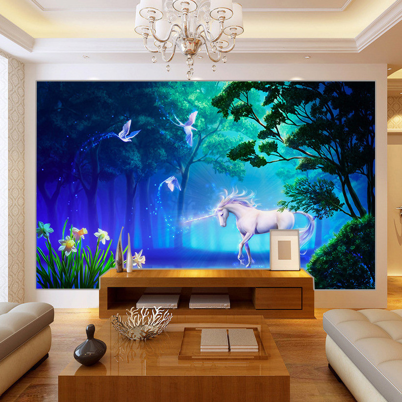 Custom Photo Wallpaper Living Room Sofa TV Background Wall Decoration Painting Forest Unicorn Large Mural Wallpaper For Walls 3D