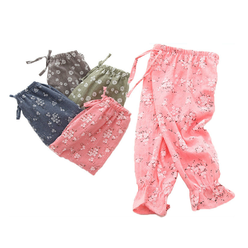 Summer Harem Pants For Baby Girl Clothes Cotton And Linen Pants Trousers Ankle-length Flower Print Pants Children Leggings ankle length pleated pants