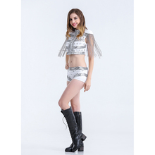 SESERIA 2 Pcs Singer Performance Costume Modern Dance Costume Clothes Fashion Jazz dance DJ Performance Wear