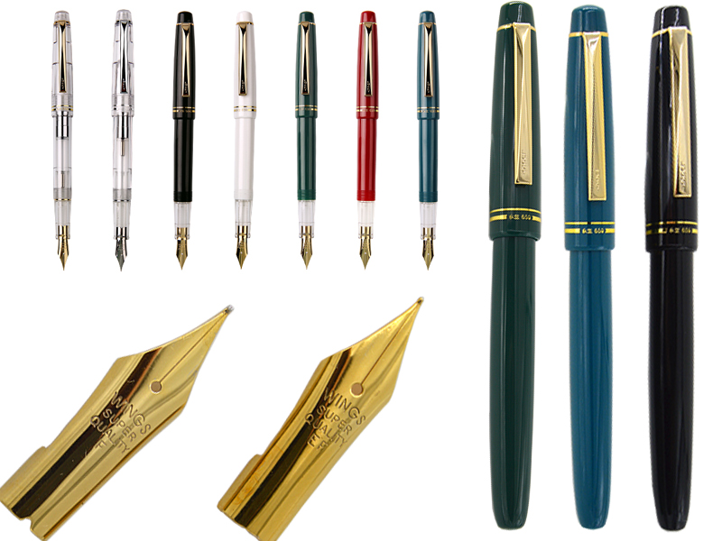 Fountain pen set of  F + EF 22K Gold Plated Nib WingSung  659 Signature pen office school stationery  Free Shipping 8pcs lot wholesale fountain pen black m 14 k solid gold nib or rollerball pen picasso 89 big executive stationery free shipping
