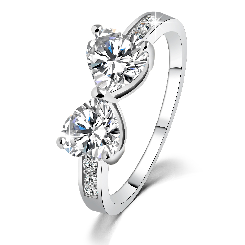 New Fashion Top Quality Heart Crystal Cz Wedding Rings Infinity Ring For  Female Engagement Jewelry Drop Shipping Jz8897c