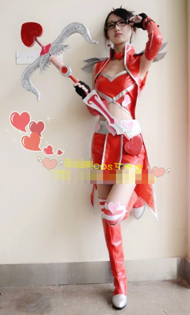 lol vayne valentines day red uniforms cosplay costume free shipping