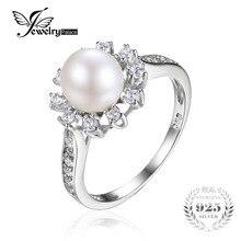 Jewelrypalace copo de nieve 7mm cultivadas de agua dulce de la perla de halo enagement anillo de 925 anillo de plata de ley de moda women fine jewelry