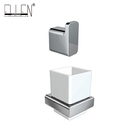 metal toothbrush holder set with single robe hook square chrome bathroom accessorieschina mainland