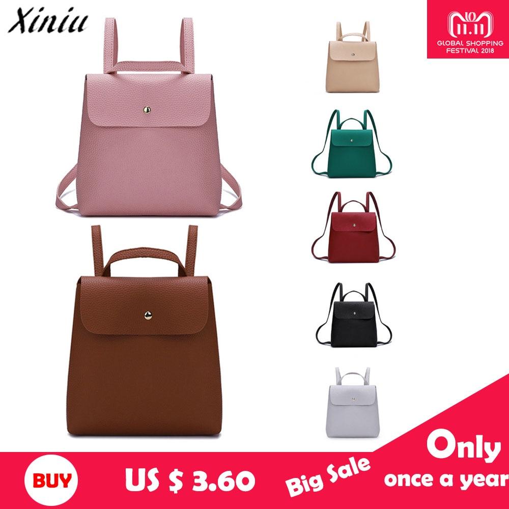 Women Backpack High Quality PU Leather Mochiila Escolar School Bags for  Teenages Girls Female Backpacks Shoulder 40a211206fa9c