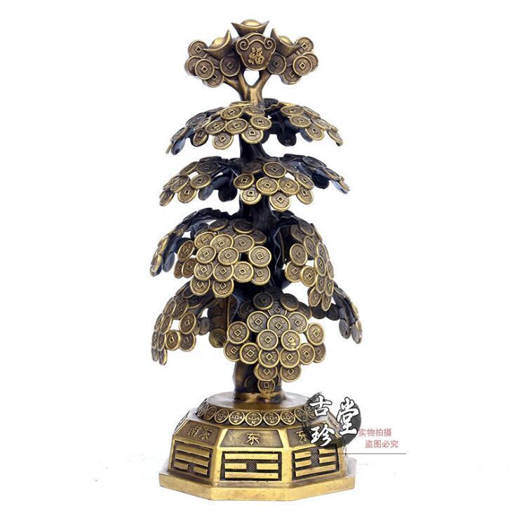 Chinese Brass Fengshui Wealth Yuanbao coin copper cash Cow Money Tree StatueChinese Brass Fengshui Wealth Yuanbao coin copper cash Cow Money Tree Statue