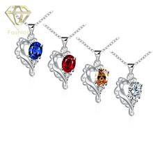 Custom Made Jewelry 4 Color Styles Fashion Unique Heart Trendy Elegant Silver-Plated Necklaces Luxury Crystal Pendant for Women