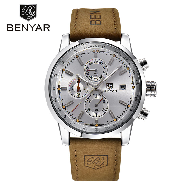 Brand Luxury BENYAR Sport Watch Men Waterproof Date Display Relogio Masculino Male Clock Man's Outdoor Stops Wristwatches Gift bewell luxury brand wood watch men analog digital movement date waterproof male wristwatches with alarm date relogio masculino