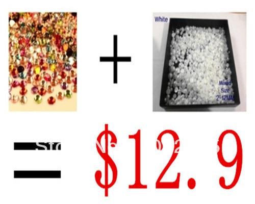 Big Discount!mixed color 5000pcs/pack crystal+3000pcs/lot Mixed Sizes  ABS Resin  Flatback Half Round Imitation Pearls mixed ring pack 10pcs