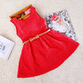 Solid Color Girls Lace Dress O-Neck Hollow Fashion Summer Dress With Belt Kidsd Fashion Clothing Party Wedding Costume 3-10T
