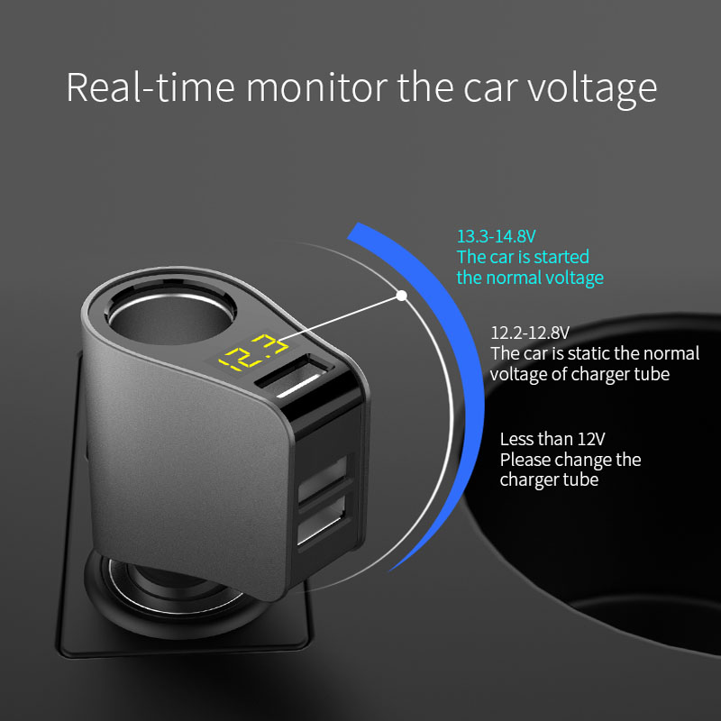 Car Charger LED Display Three <font><b>USB</b></font> Fast Charger Voltage Detection For <font><b>fiat</b></font> punto <font><b>500</b></font> bravo freemont stilo panda linea ducato image